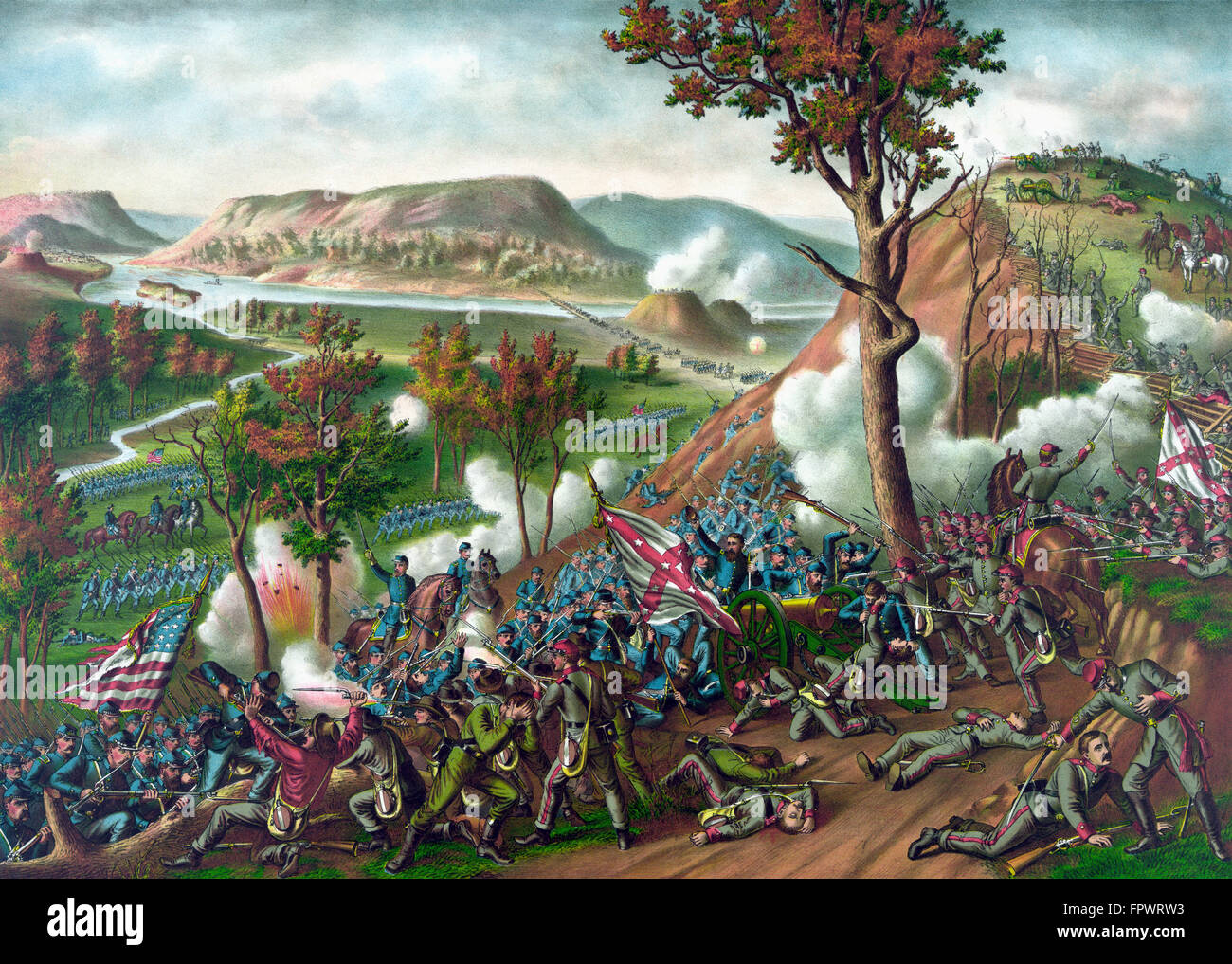 Vintage American Civil War print of the Battle of Missionary Ridge, which took place during the Chattanooga Campaign. - Stock Image