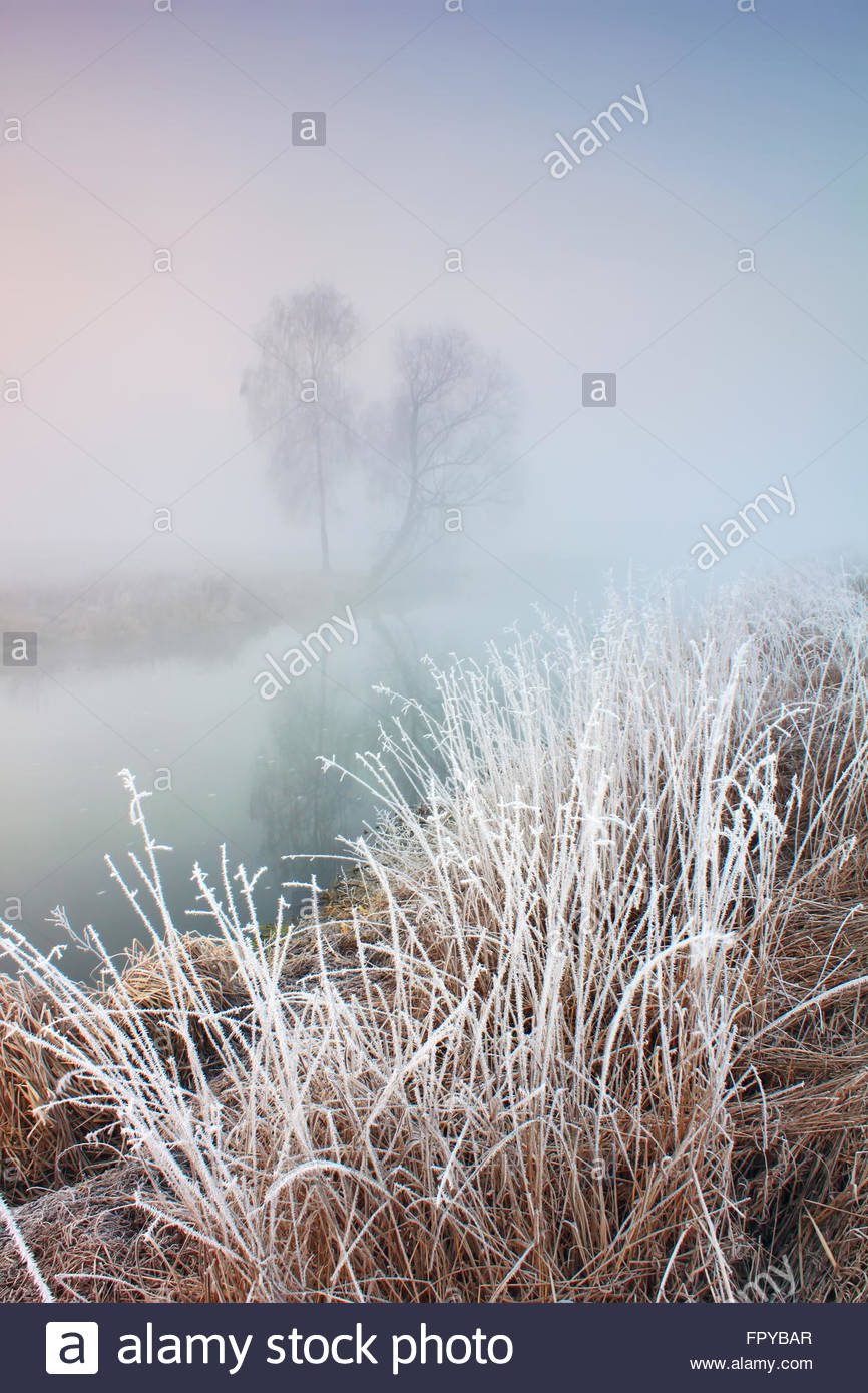 Misty morning with frost on the river in early spring - Stock Image