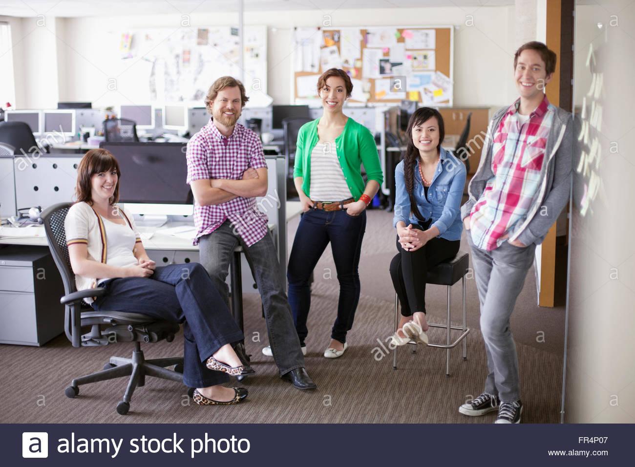 portrait of trendy, creative team in office - Stock Image