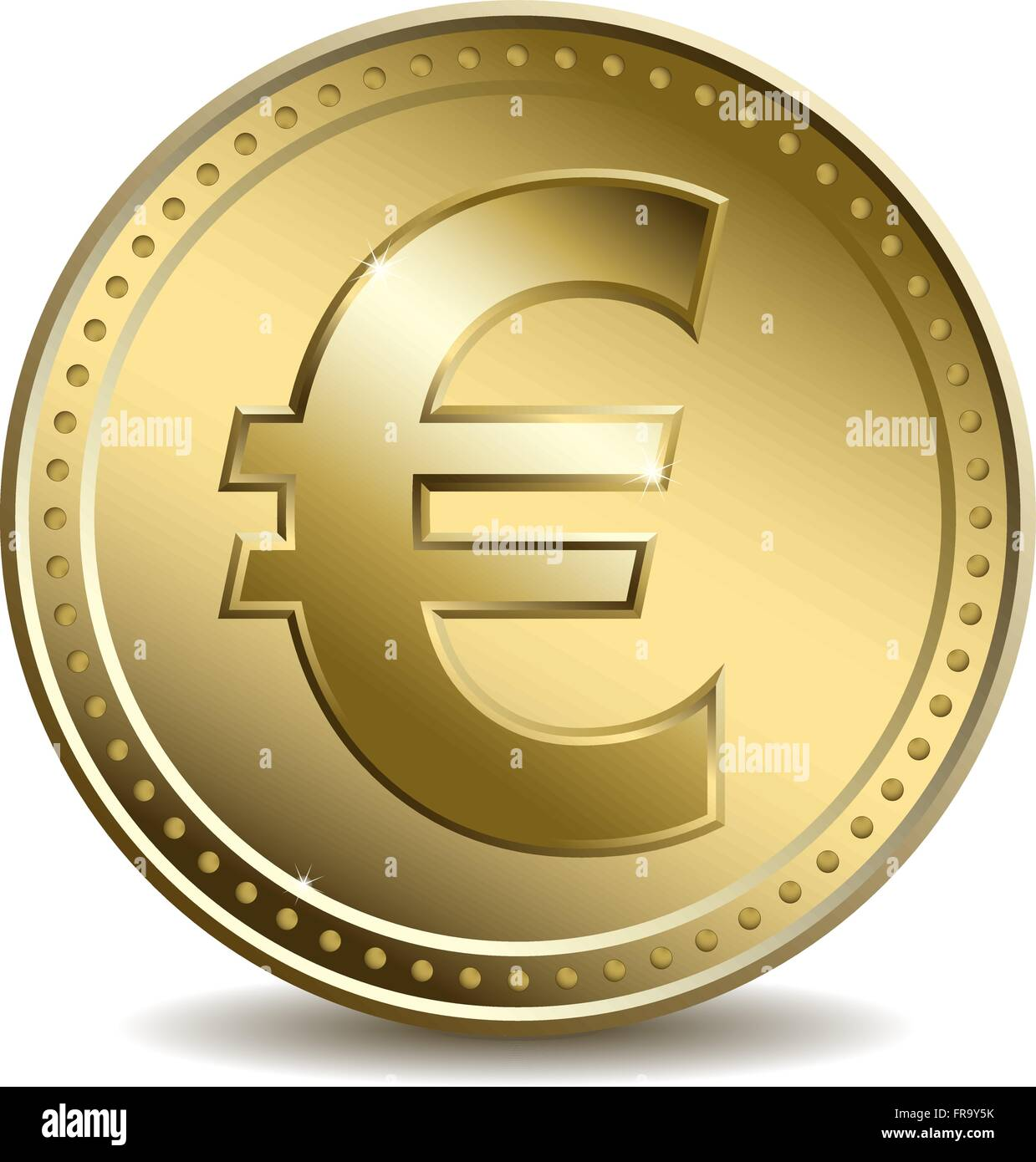 Gold Coin With The Euro Symbol Stock Vector Art Illustration