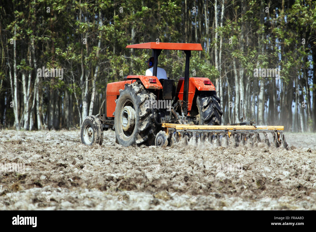 Agricultural machine plowing land for plantation of onion - rural deTavares - RS - Stock Image