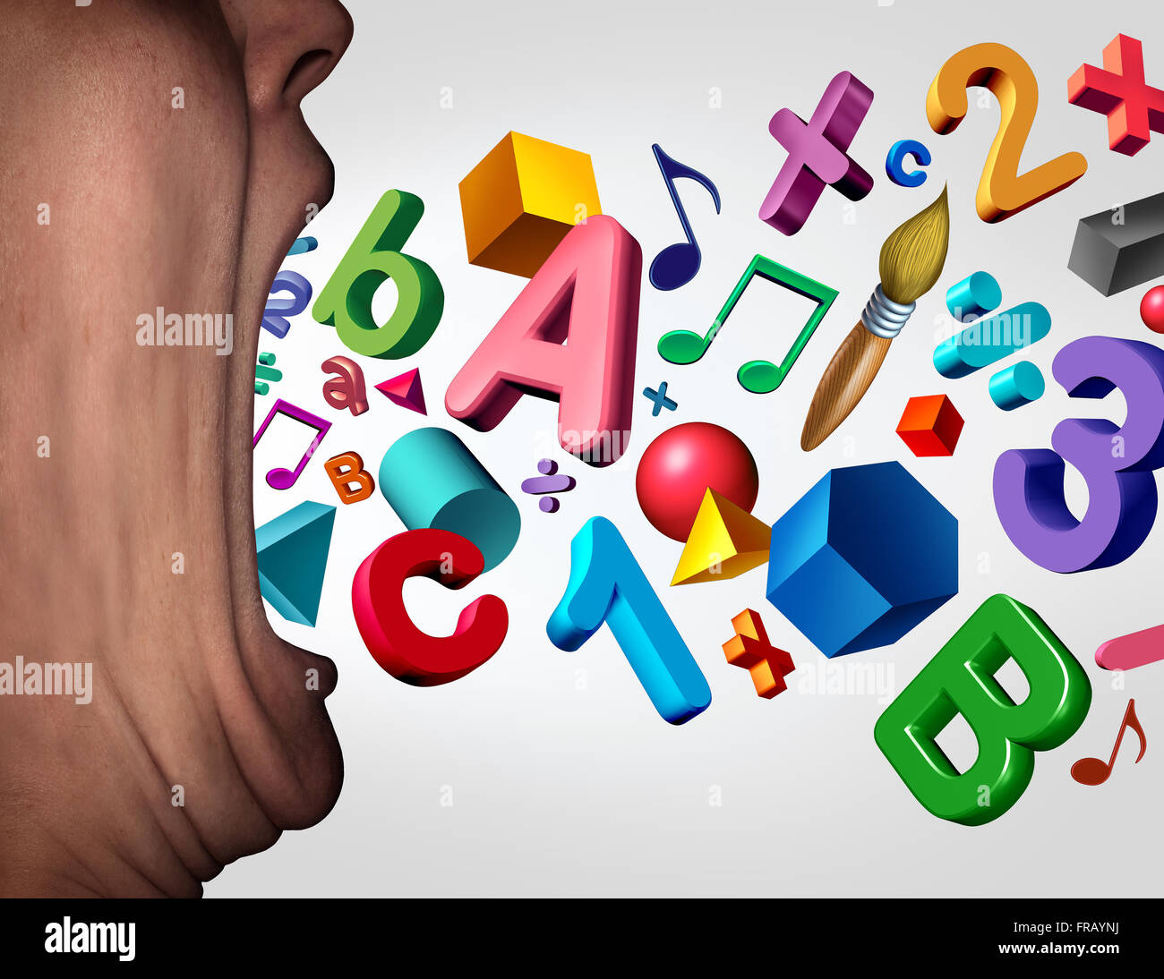 Concept of teaching and learning symbol as a teacher with a wide open mouth with numbers letters music notes and - Stock Image