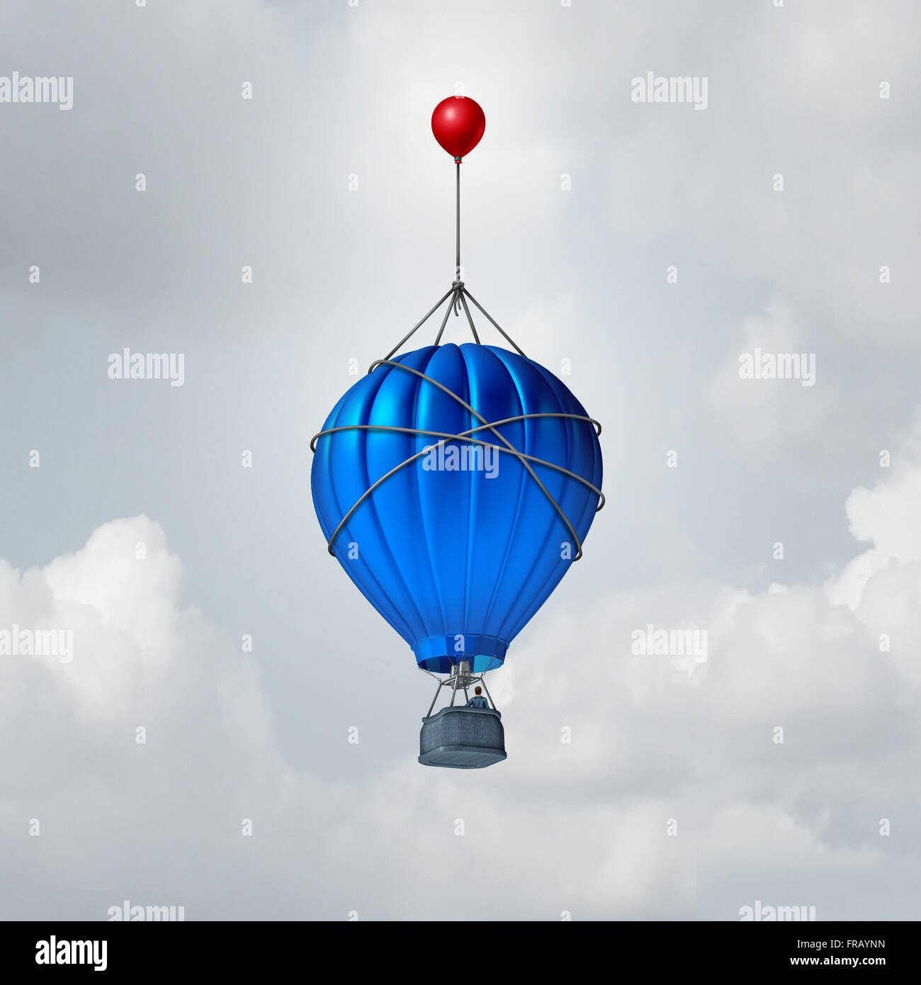 Extra help business concept or a metaphor for over and above symbol as a hot air balloon being reinforced by an - Stock Image