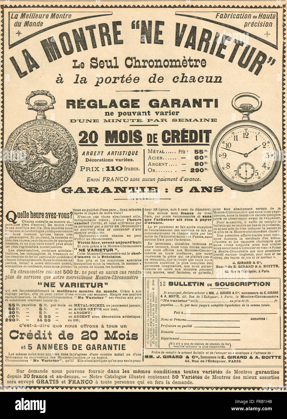 French advert for the Best Watch in the World 1900 - Stock Image