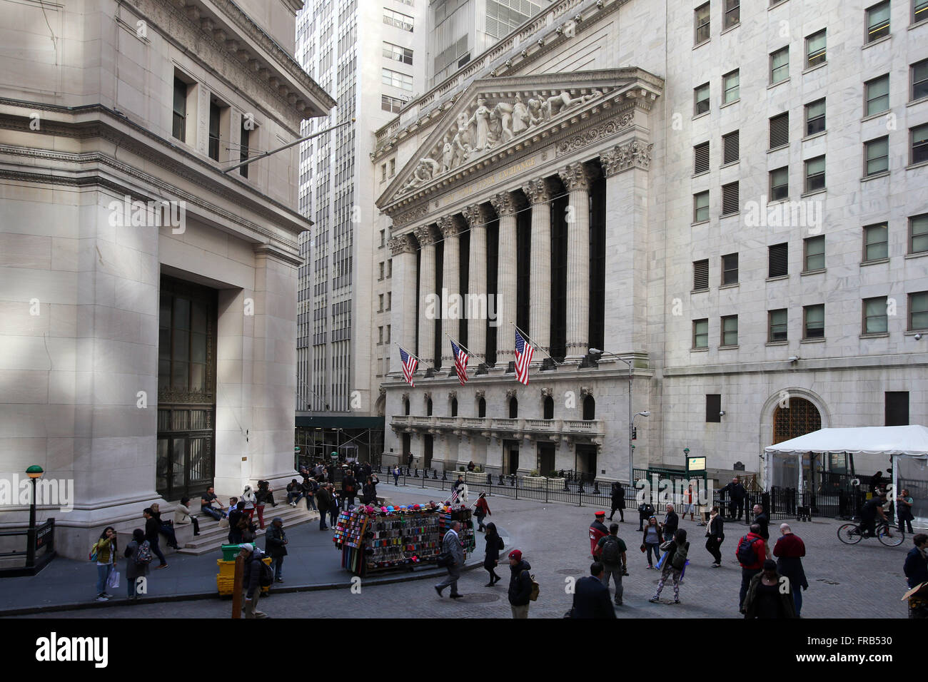 New York Stock Exchange at the intersection of Broad and Wall Street in New York City, New York, United States of - Stock Image