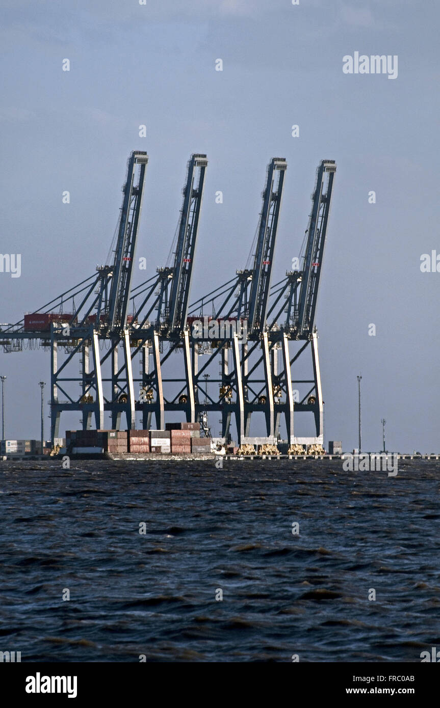 View of the Port of Montevideo from the River Plate - Stock Image