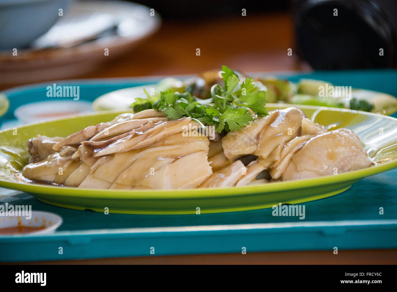 Hainanese Chicken rice at Tian Tian food stall in Maxwell Road Food Centre, Singapore Stock Photo