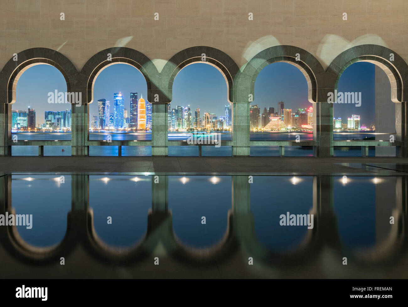 Night view of Museum of Islamic Art in Doha Qatar - Stock Image