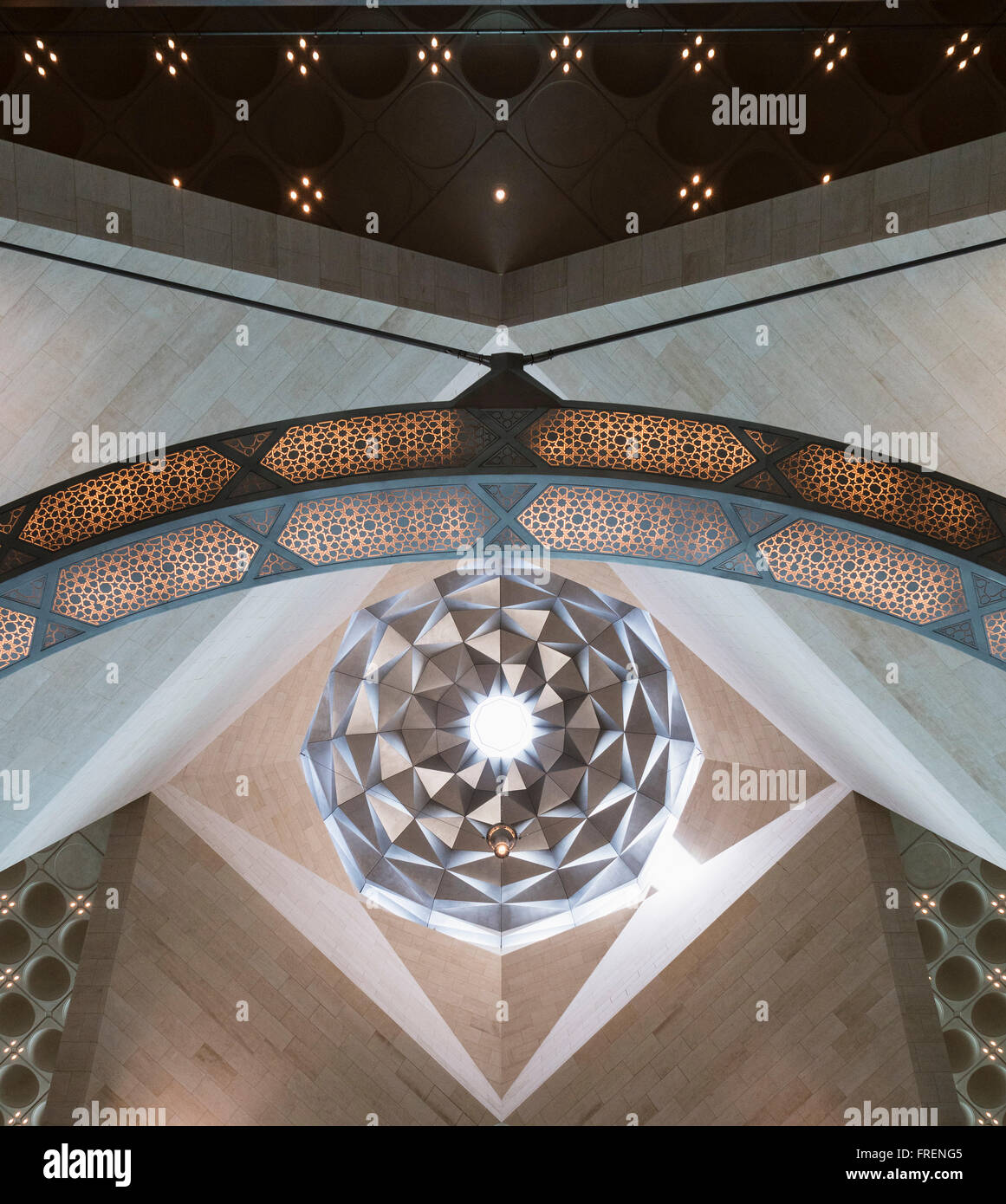 Interior view of architectural details of roof at Museum of Islamic Art in Doha Qatar - Stock Image