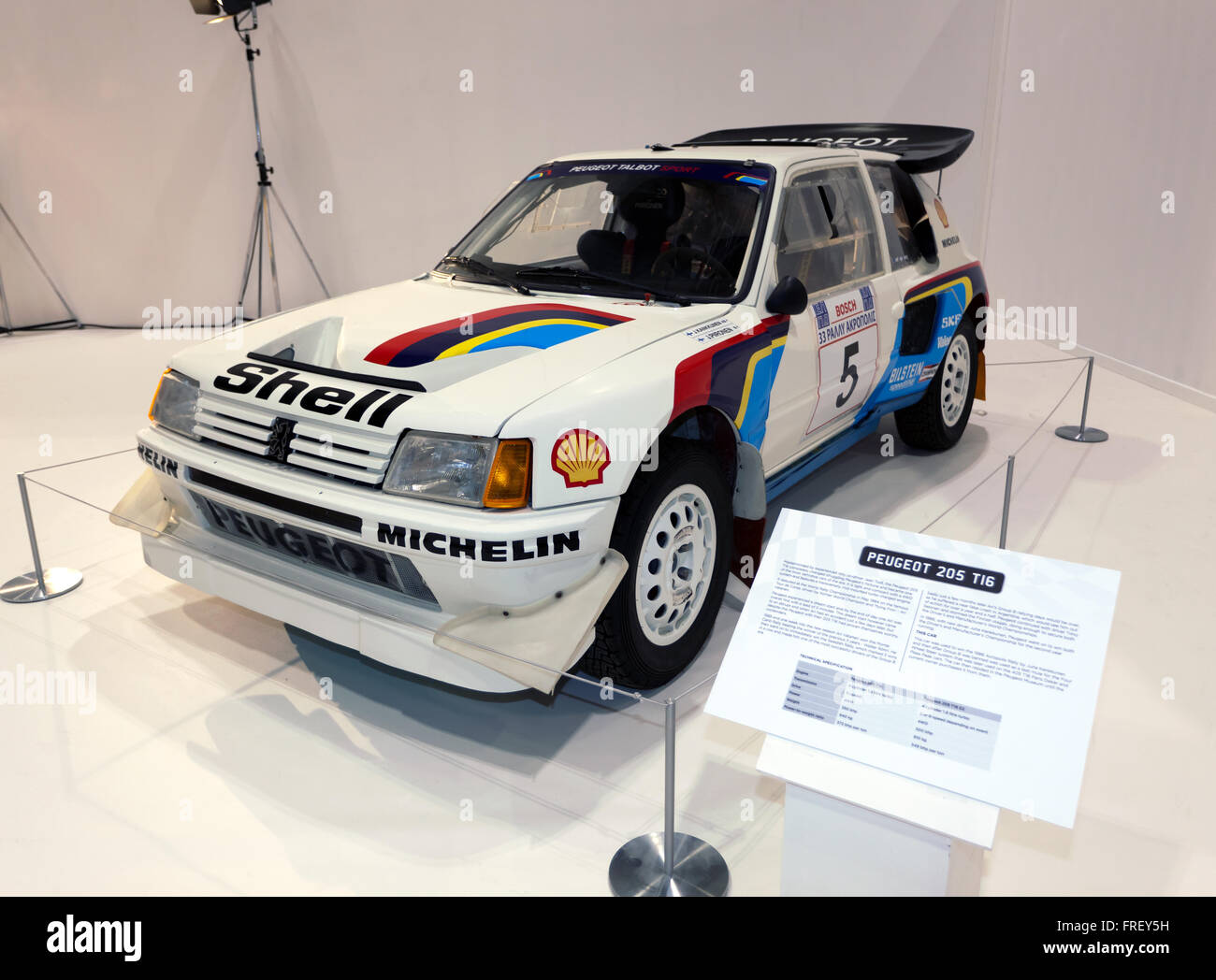 "A Peugeot 205 T16 Rally car on display in ""The Pinnacle of Rallying"" section of the 2016 London Classic Car Show. Stock Photo"