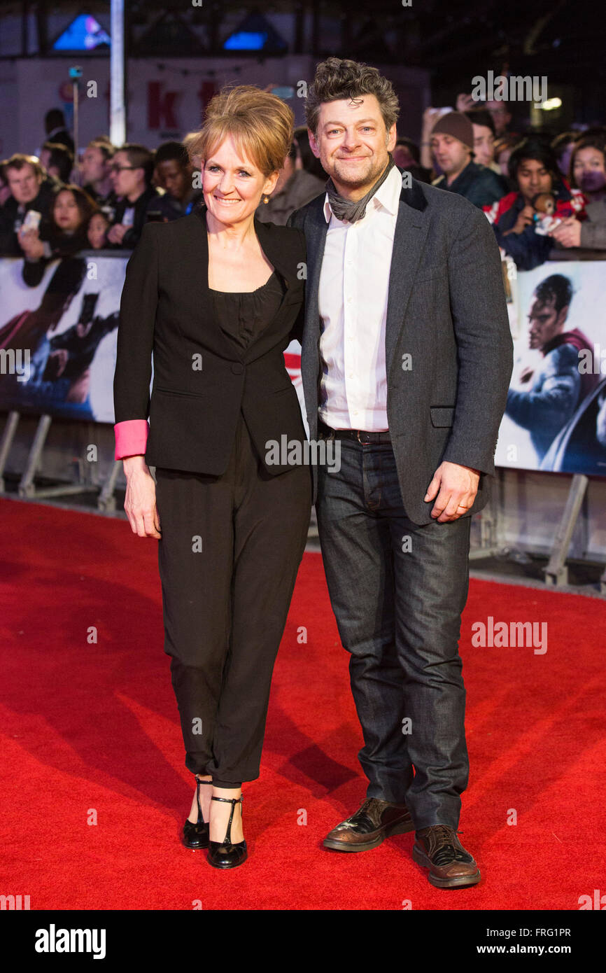 London, UK. 22 March 2016. Andy Serkis and Lorraine Ashbourne. Warner Bros. Pictures presents the European Premiere - Stock Image
