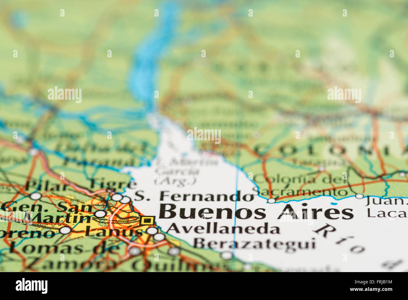 Close up of a map of Buenos Aires in Argentina - Stock Image
