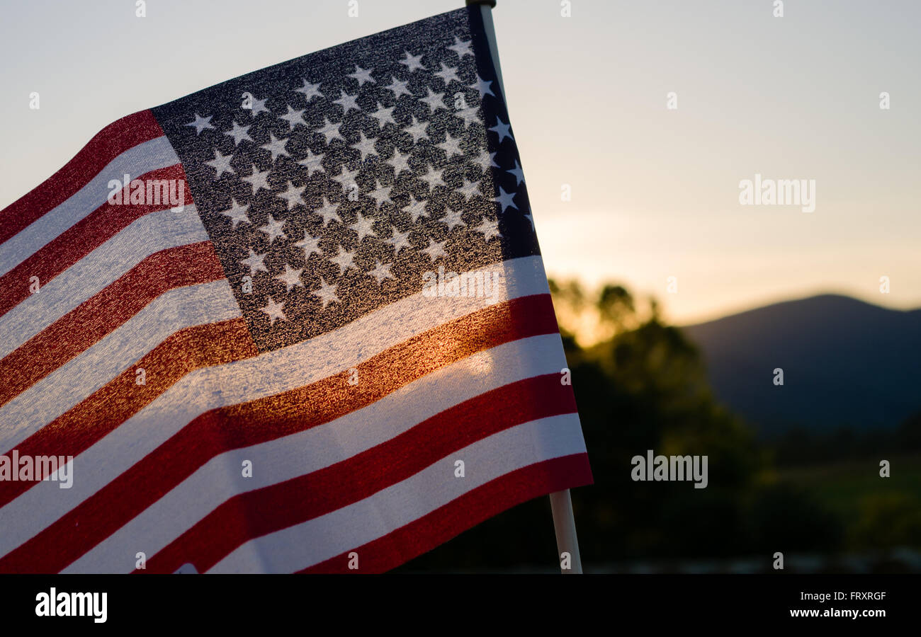 Sunset behind a mini-flag in the Virginia mountains Stock Photo