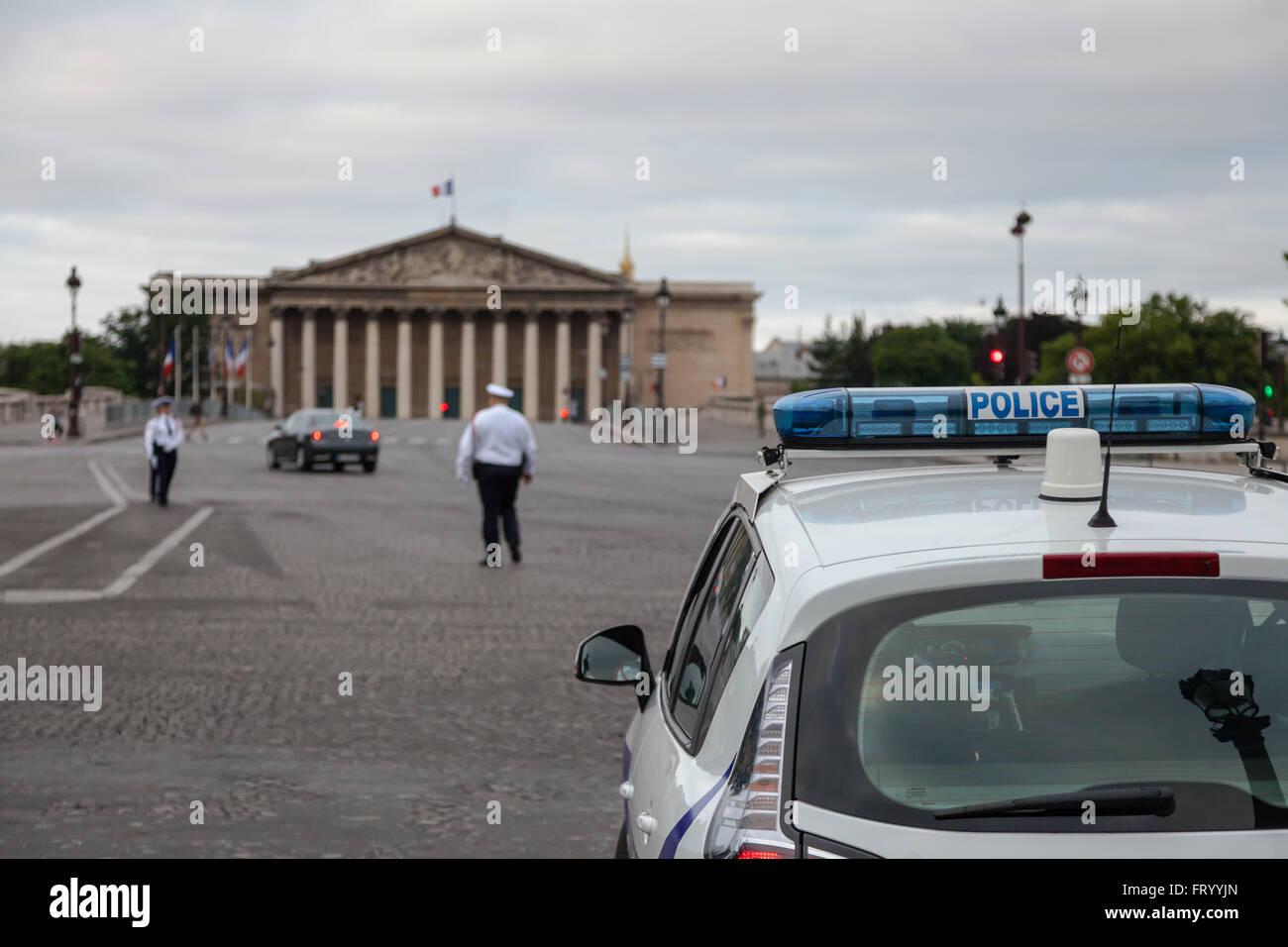 Police at Place de la Concorde in Paris France - Stock Image