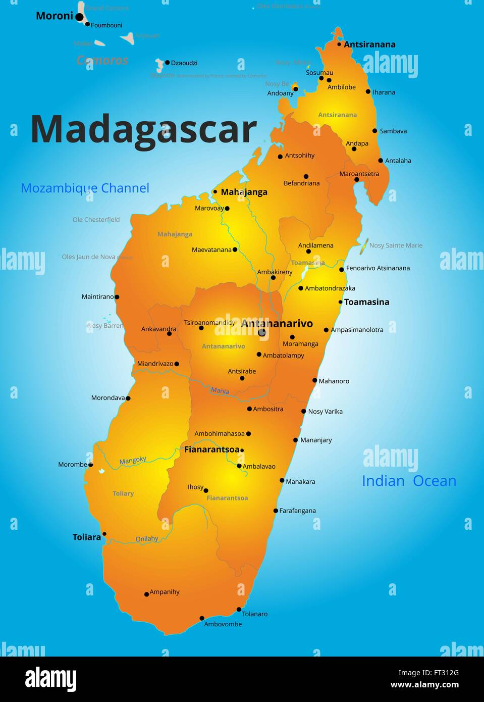 color map of Madagascar country Stock Vector Art & Illustration ...