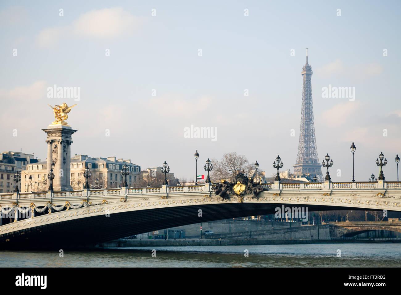 Bridge Alexandre III in Paris France - Stock Image