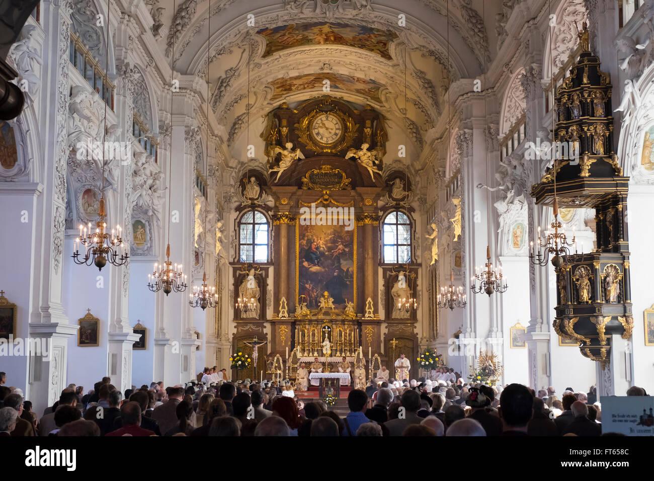 Leonhardi mass at the Basilica of St. Benedict, Benediktbeuern, Upper Bavaria, Bavaria, Germany - Stock Image