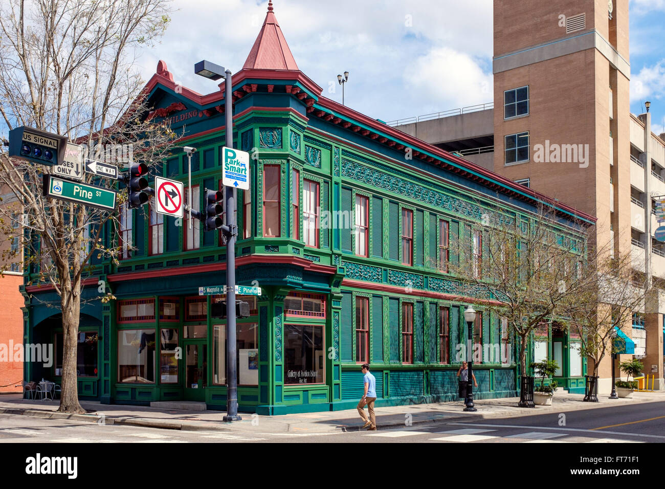Traditional architecture of the building known as the Gallery at Avelon Island, Downtown Orlando, Florida, America - Stock Image