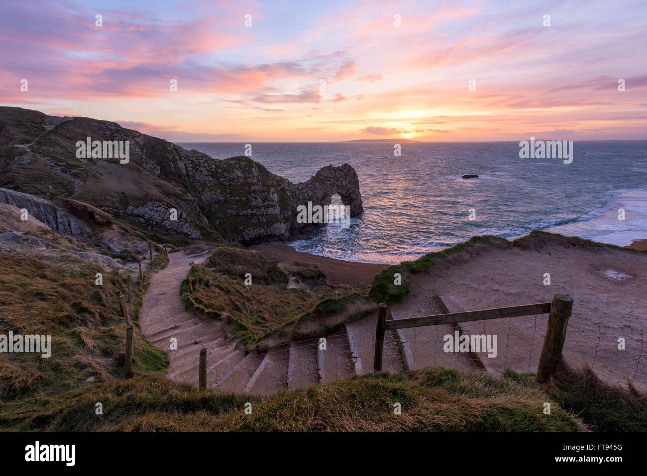 A view of Durdle Door in Dorset. Stock Photo