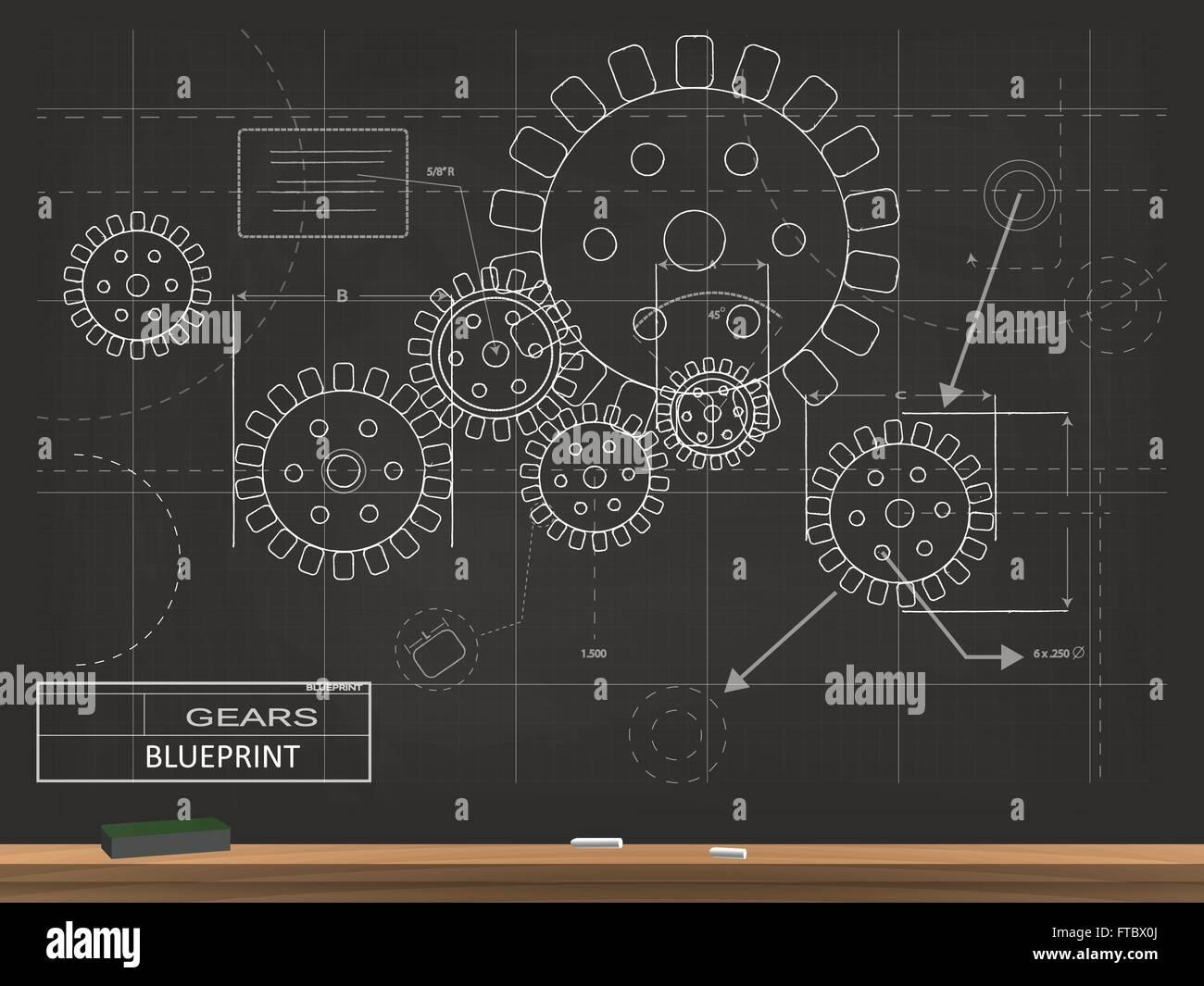 Gears blueprint chalkboard vector illustration stock vector art gears blueprint chalkboard vector illustration malvernweather Image collections