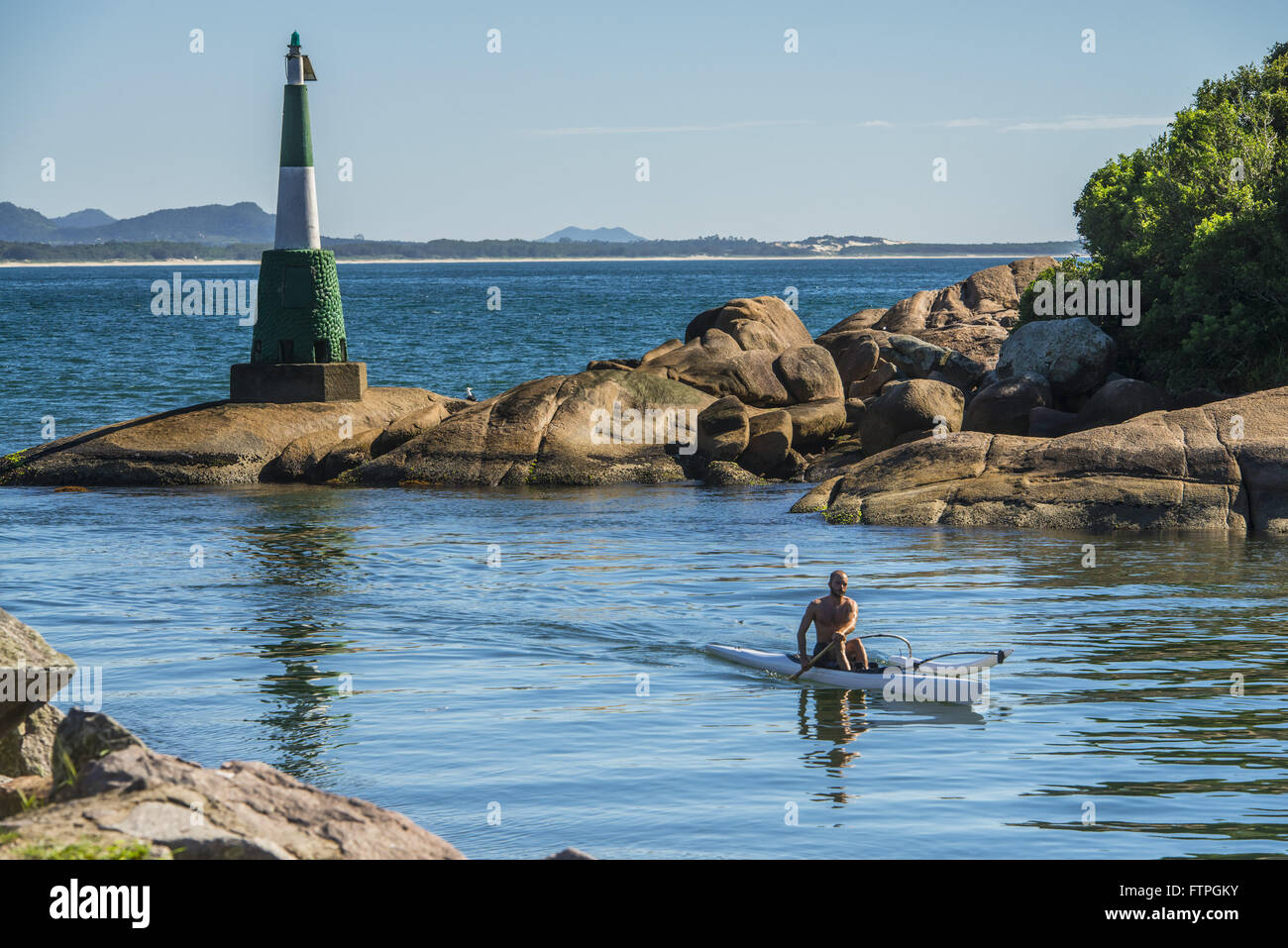 Canoeing at Ponta do Vigia - Barra da Lagoa - Stock Image