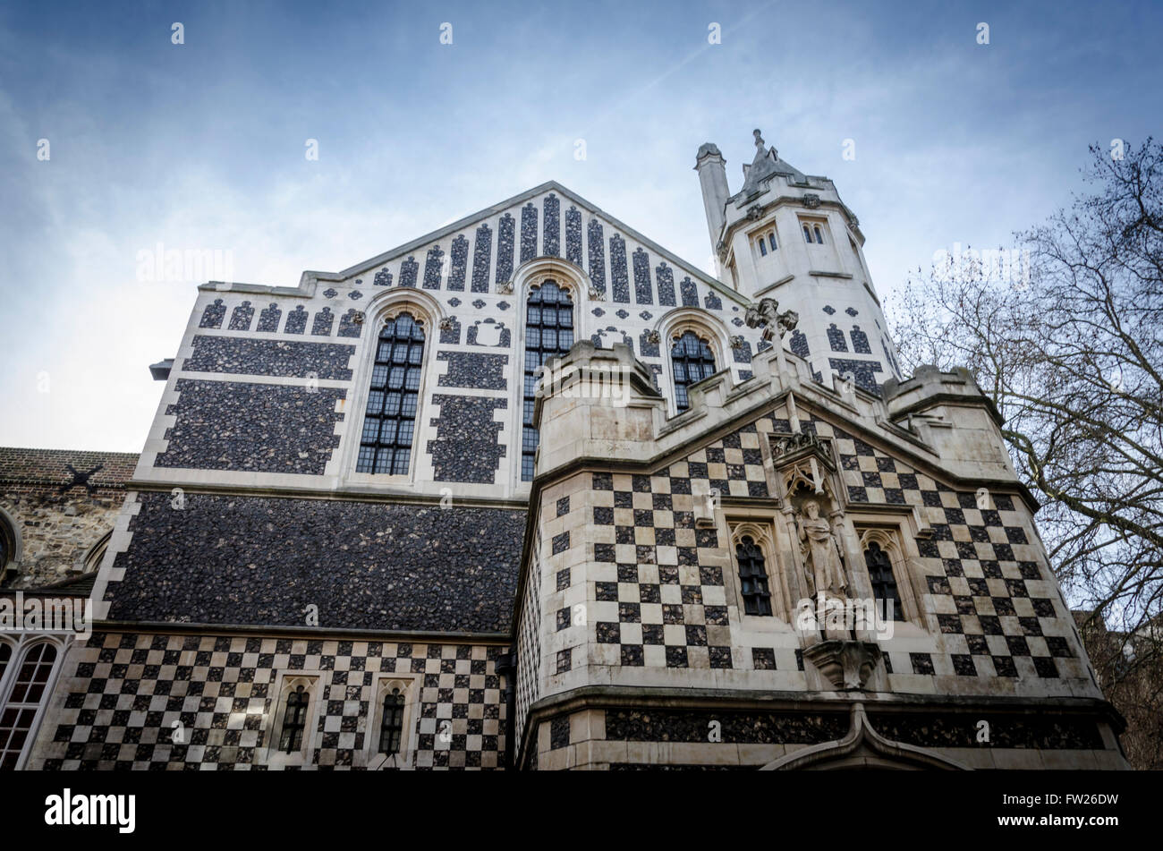 St Bartholomew the Great viewed from Cloth Fair, West Smithfield, London, UKStock Photo