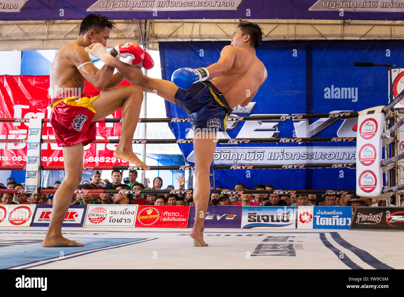 Muay Thai, Thai boxing, two men fighting in the boxing ring, Thailand - Stock Image