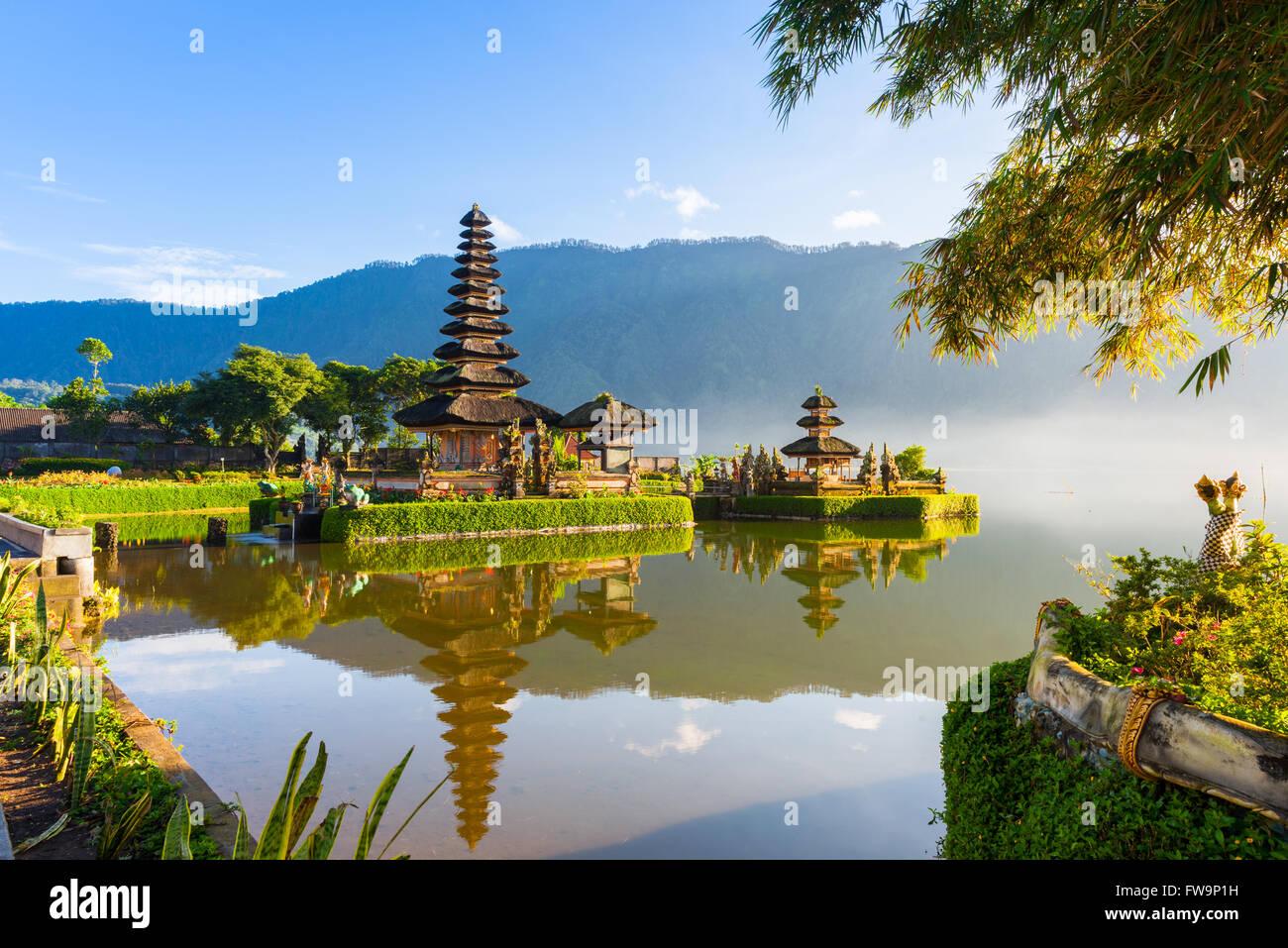 Pura Ulun Danu Bratan at sunrise, famous temple on the lake, Bedugul, Bali, Indonesia. Stock Photo