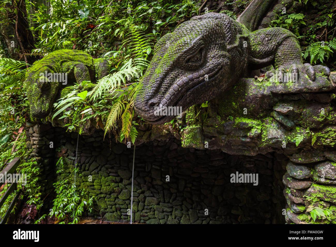 Giant Lizard in Sacred Monkey Forest Sanctuary, Ubud, Bali, Indonesia Stock Photo