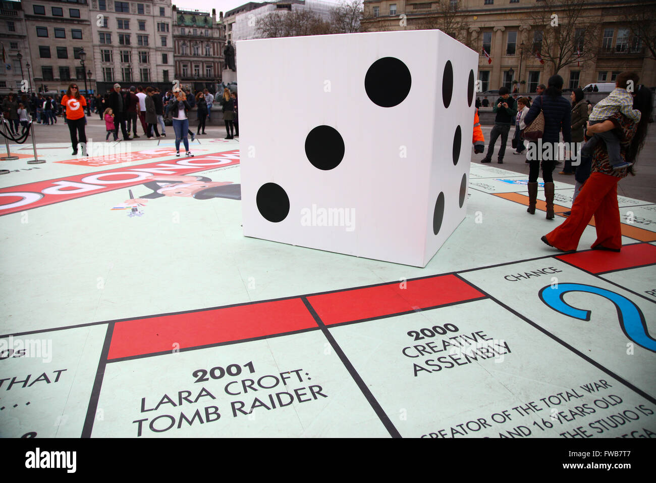 trafalgar london london 3 april 2016 a giant dice people