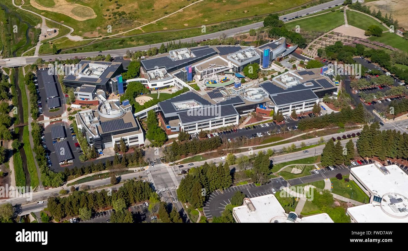 aerial photograph Google headquarters Mountain View, California, USA - Stock Image