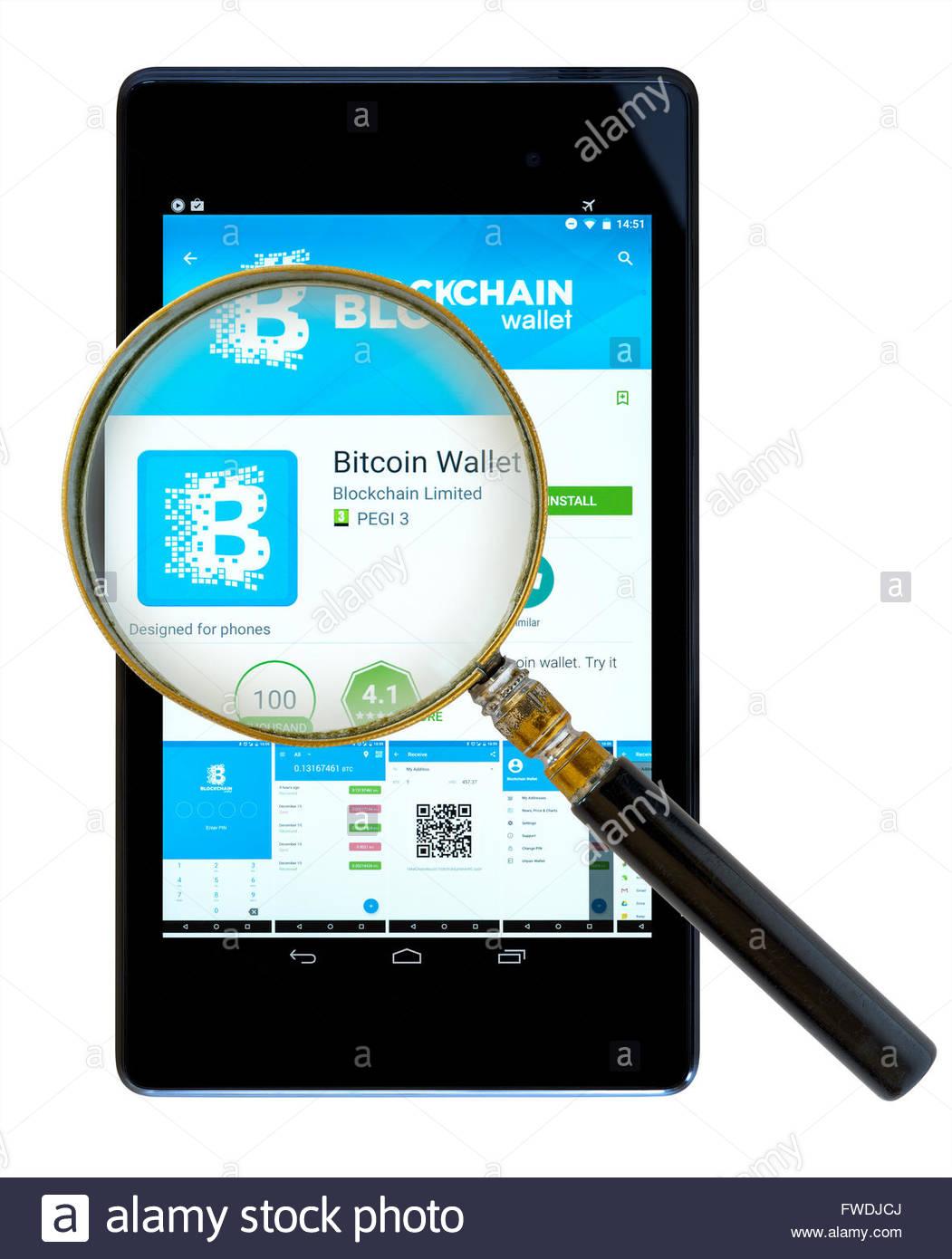 Blockchain bitcoin wallet phone app on an android tablet pc stock blockchain bitcoin wallet phone app on an android tablet pc dorset england uk ccuart Gallery