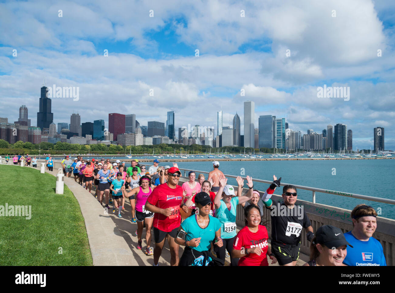 The Chicago Marathon along the lakefront, Downtown Chicago, Illinois, United States of America, North America - Stock Image
