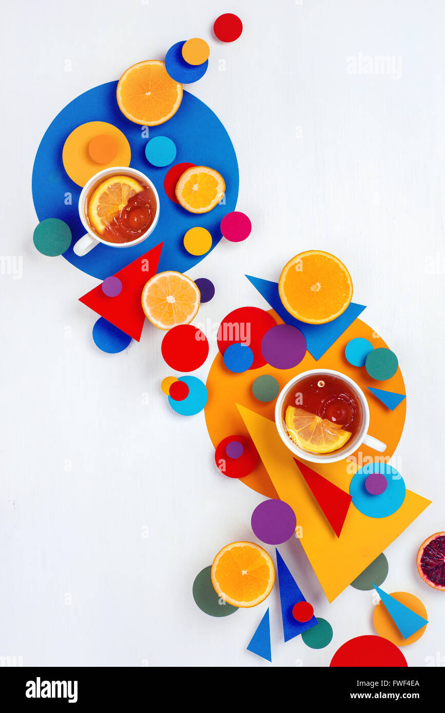 Suprematic tea party - Stock Image