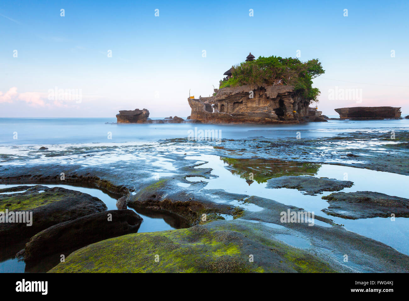 Pura Tanah Lot in the morning, famous ocean temple in Bali, Indonesia. Stock Photo