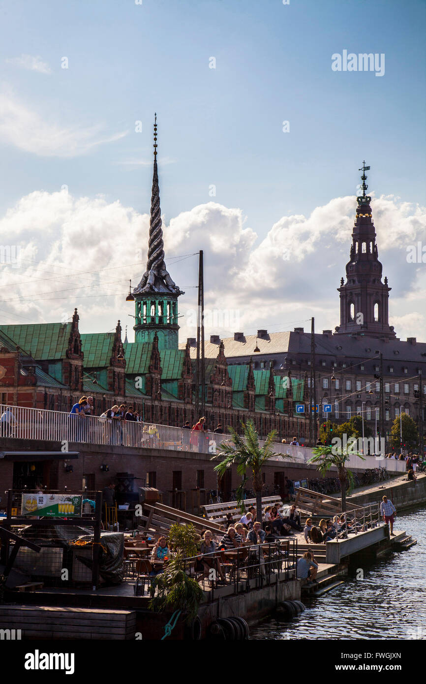 Borsen Building And Christiansborg Palace Against Cloudy Sky - Stock Image