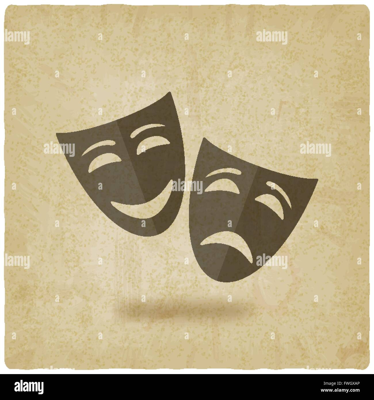 comedy and tragedy masks old background - vector illustration. eps ...