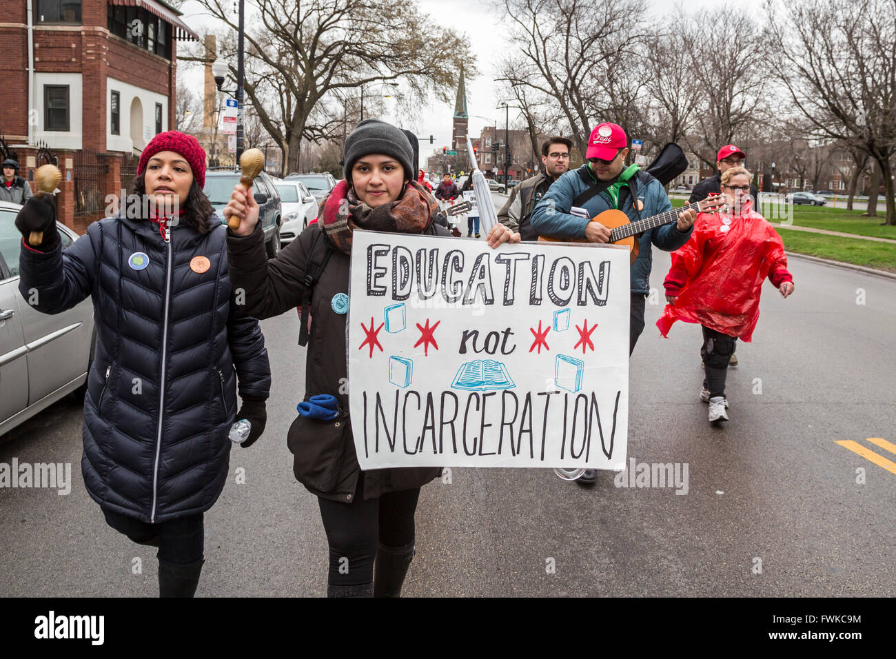 Chicago, Illinois - Striking Chicago teachers marched to the Cook County Jail, demanding funding for schools, not - Stock Image