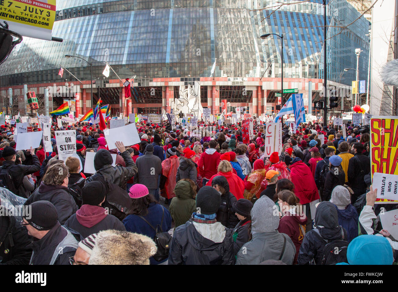 Chicago, Illinois - Members of the Chicago Teachers Union strike for increased funding for the city's public - Stock Image