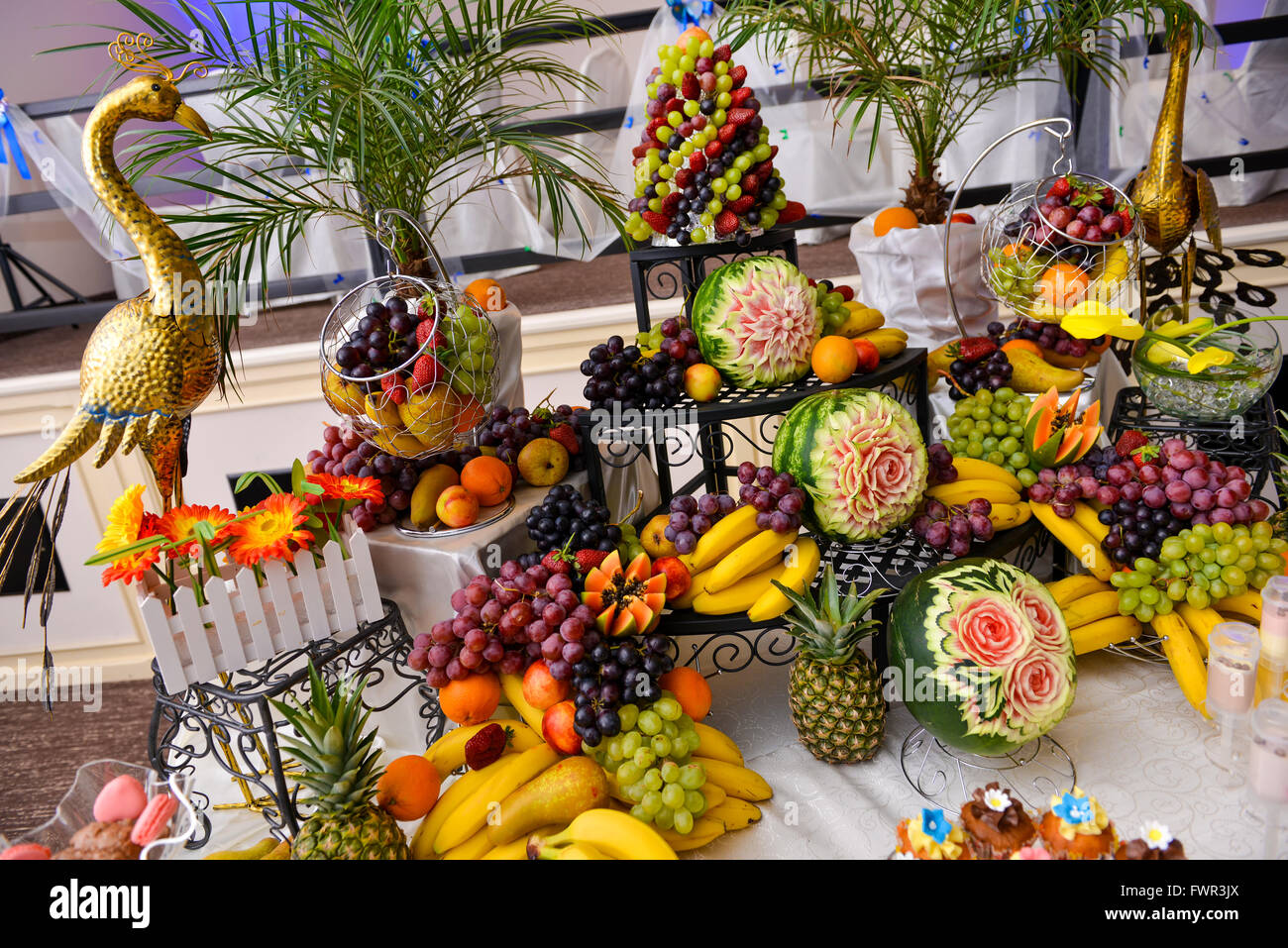 Different type of fruits on table, wedding day Stock Photo ...