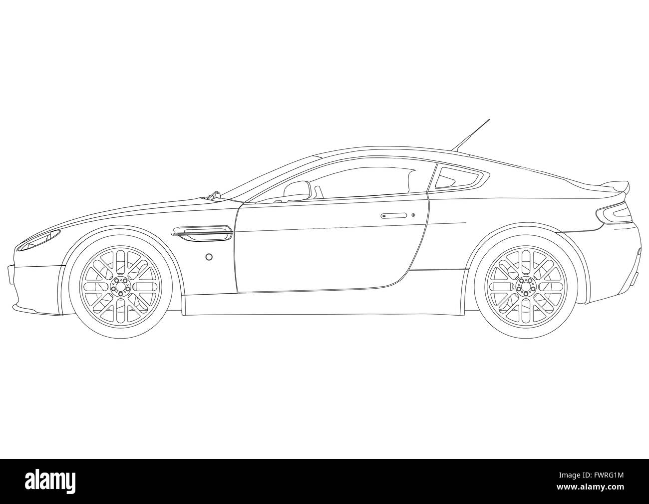 Line Drawing Car : Sports car black and white stock photos & images alamy