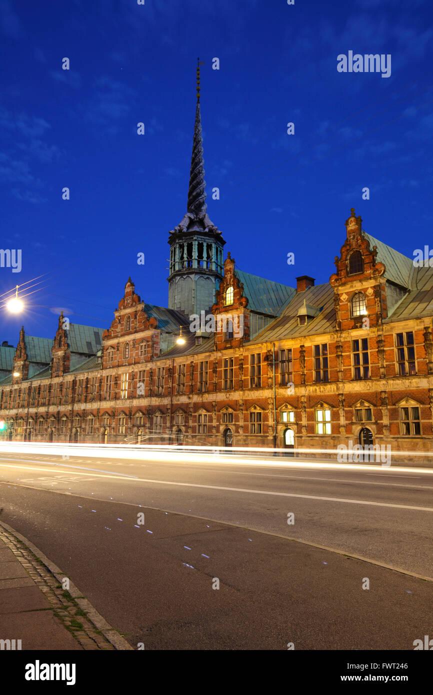 The Stock Exchange building at dusk, Copenhagen, Denmark - Stock Image