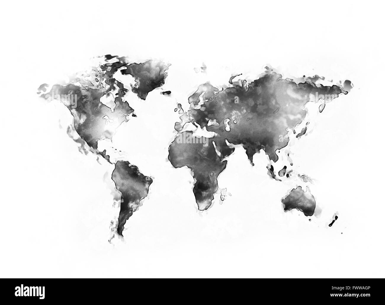 Abstract world map painting o white background stock photo abstract world map painting o white background gumiabroncs Image collections