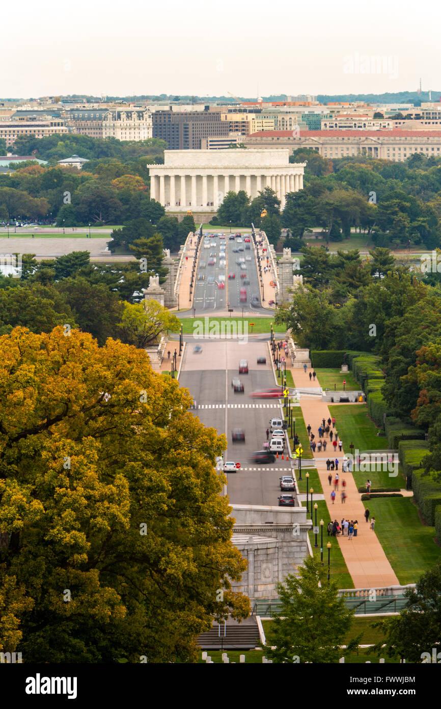 Arlington Memorial Bridge with Lincoln Memorial and Washington, DC in background. Stock Photo