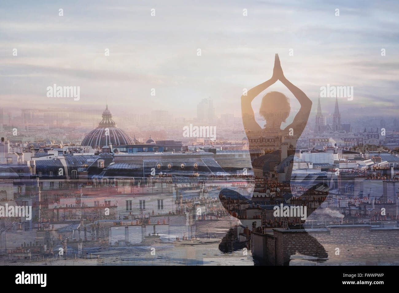 yoga and meditation in big city, double exposure, mindfulness concept, harmony in life - Stock Image