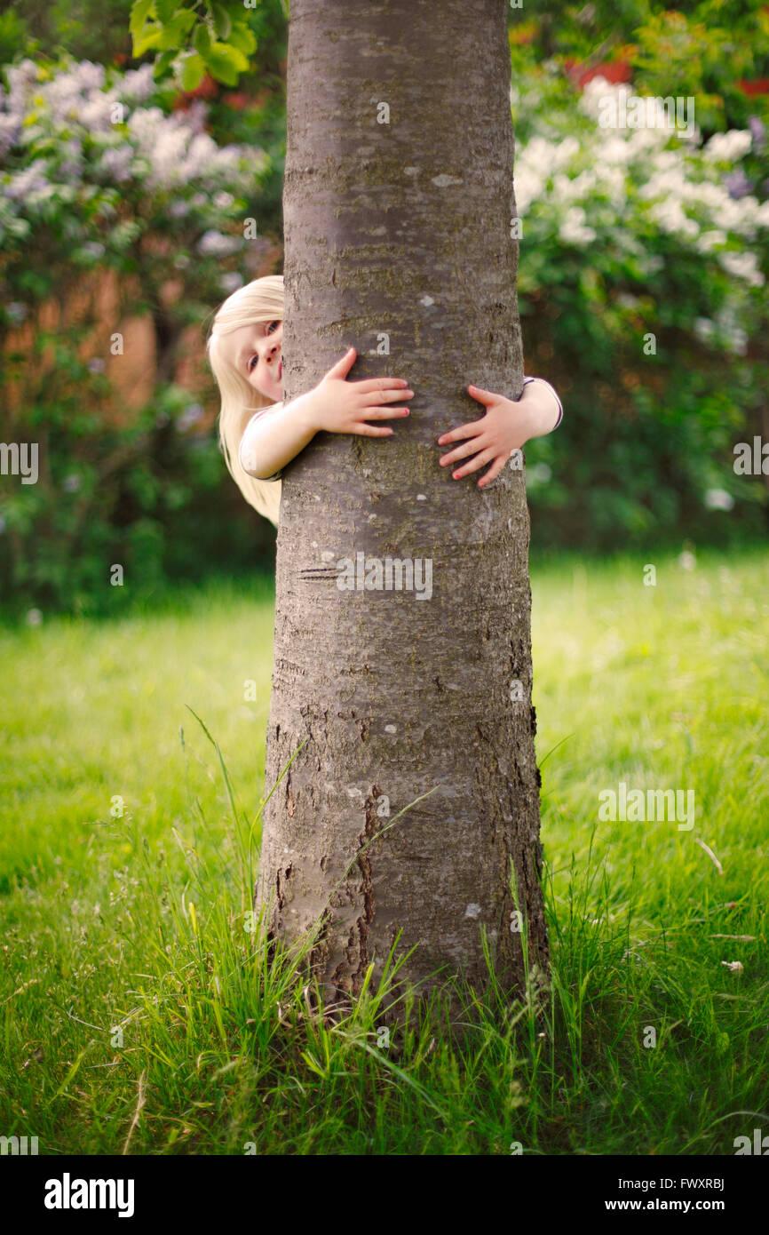 Sweden, Bohuslan, Tjorn, Girl (4-5) hiding behind tree - Stock Image