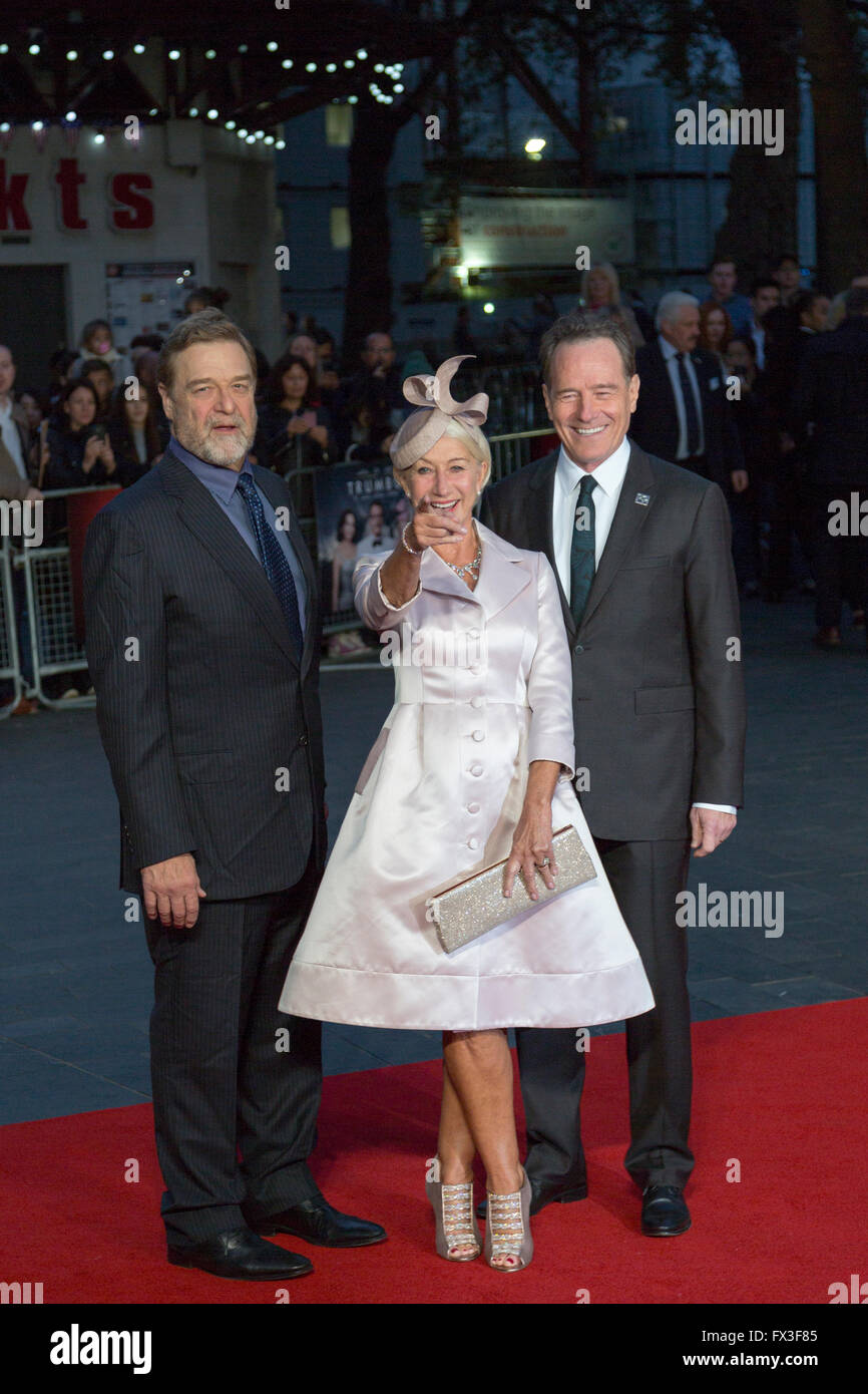 Helen Mirren, John Goodman and Bryan Cranston at the London Film Festival premiere of Trumbo - Stock Image