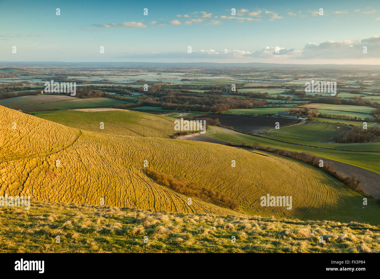 Spring morning on the South Downs, East Sussex, England. Stock Photo