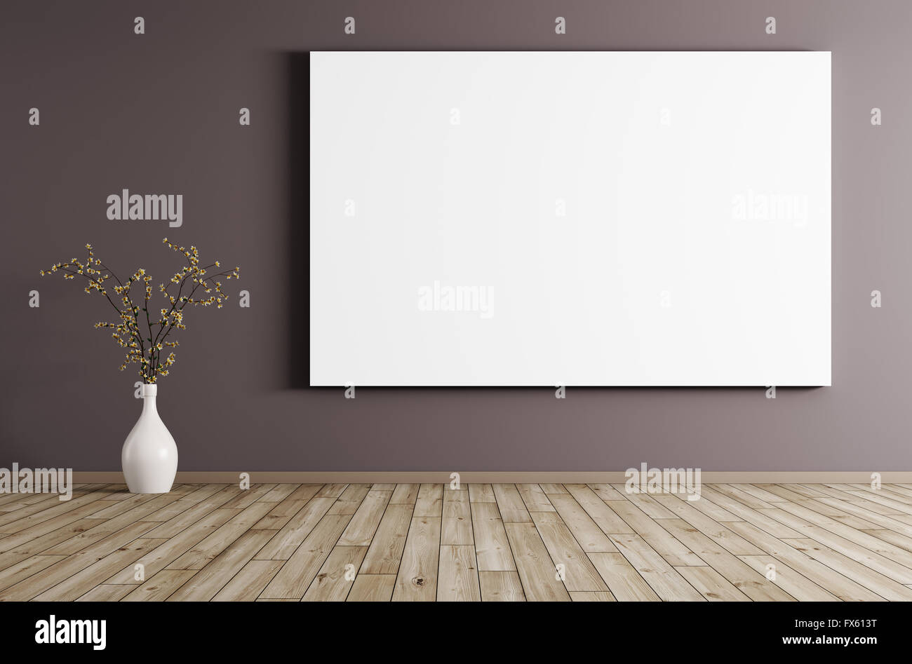 big poster and flower vase in room with purple wall and wooden floor interior background 3d rendering - Wooden Floor Vase