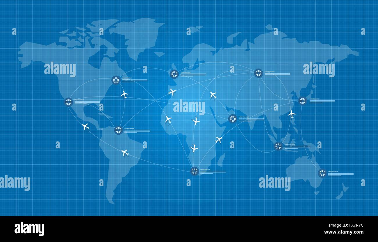 World map plane logistic in blue print network stock vector art world map plane logistic in blue print network gumiabroncs Gallery